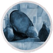 Pears And Blue Bowl On Blue Round Beach Towel