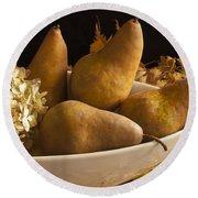 Pears And Hydrangea Still Life  Round Beach Towel by Sandra Foster