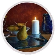 Pears By Candlelight Round Beach Towel