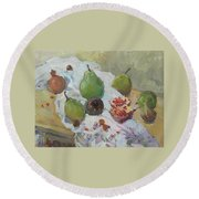 Pears Figs And Young Pomegranates Round Beach Towel