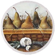 Round Beach Towel featuring the painting Pears by Mikhail Zarovny