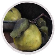 Pears Stilllife Painting Round Beach Towel by Michele Carter
