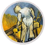 Round Beach Towel featuring the painting Peasant Women Cutting Wheat by Jodie Marie Anne Richardson Traugott          aka jm-ART