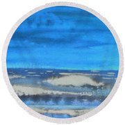 Round Beach Towel featuring the painting Peau De Mer by Marc Philippe Joly