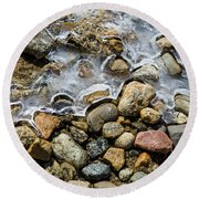 Pebbles And Ice Round Beach Towel
