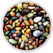Pebbles On A Beach Round Beach Towel