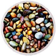 Pebbles On A Beach Round Beach Towel