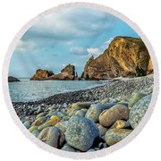 Pebbles On The Beach Round Beach Towel