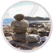 Peceful Zen Rocks Round Beach Towel