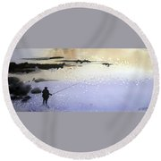 Round Beach Towel featuring the painting Peche by Ed Heaton