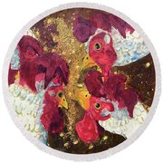 Round Beach Towel featuring the painting Pecking Order by Jame Hayes