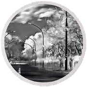 Round Beach Towel featuring the painting  Pedestrian People On The Street by Odon Czintos