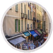 Street In Old Nice Round Beach Towel