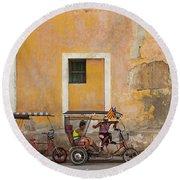 Pedicabs At Convento De Santa Clara Havana Cuba Round Beach Towel by Charles Harden