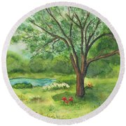 Round Beach Towel featuring the painting Pedro's Tree by Vicki  Housel