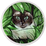 Round Beach Towel featuring the painting Peek A Boo Siamese Cat by Dora Hathazi Mendes