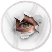 Peek Through A Hole Round Beach Towel by Carlos Caetano