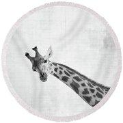 Peekaboo Giraffe Round Beach Towel