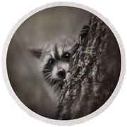 Peekaboo Raccoon Art Round Beach Towel by Jai Johnson