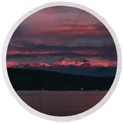 Round Beach Towel featuring the photograph Peekaboo Sunrise by Jan Davies