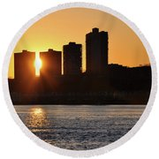 Round Beach Towel featuring the photograph Peekaboo Sunset by Sarah McKoy