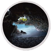 Peeking Through The Lava Tube Round Beach Towel