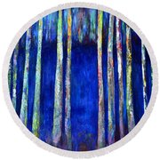 Peeking Through The Trees Round Beach Towel