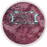 Round Beach Towel featuring the photograph Peeling Door Abstract by Stuart Litoff