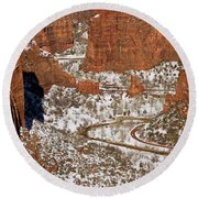 Peering Into The Valley Round Beach Towel