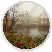 Foggy Glimpse Round Beach Towel