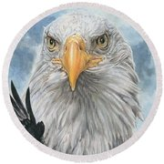 Round Beach Towel featuring the painting Peerless by Barbara Keith