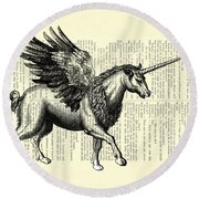 Pegasus Black And White Round Beach Towel
