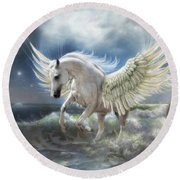 Pegasus Rising Round Beach Towel