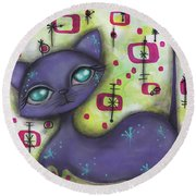 Peggy Cat Round Beach Towel by Abril Andrade Griffith
