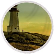 Peggys Cove Lighthouse At Sunset  Round Beach Towel by Ken Morris