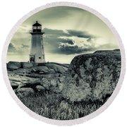 Peggys Cove Lighthouse Round Beach Towel