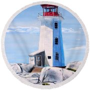 Round Beach Towel featuring the painting Peggy's Cove Lighthouse by Marilyn  McNish