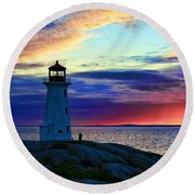 Peggy's Cove Lighthouse Round Beach Towel