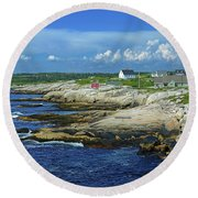 Round Beach Towel featuring the photograph Peggy's Cove by Rodney Campbell