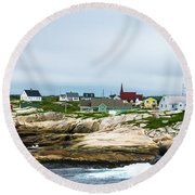 Peggy's Cove Shoreline Round Beach Towel