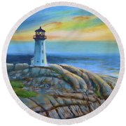 Peggy's Cove Sunset Round Beach Towel