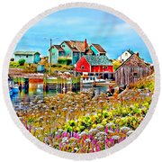 Peggy's Cove Wildflower Harbour Round Beach Towel