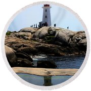 Peggys Light House Relfection  Round Beach Towel