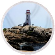 Peggys Light House Relfection  Round Beach Towel