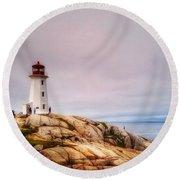 Peggys Point Lighthouse Round Beach Towel