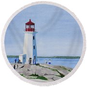 Peggy's Point Lighthouse Round Beach Towel