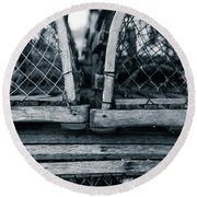 Round Beach Towel featuring the photograph Pei Loberster Traps by Chris Bordeleau