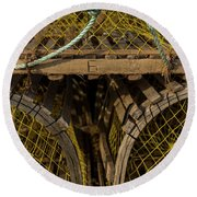 Round Beach Towel featuring the photograph Pei Loberster Traps With Yellow Netting by Chris Bordeleau