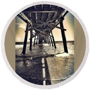 Peir View  Round Beach Towel