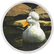 Round Beach Towel featuring the photograph Pekin Pop Top Duck by Sandi OReilly